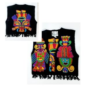 Hand Knitted Tribal Open Black Vest with Tassels